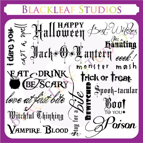 Halloween Words Sentiments  Blackleaf Design    Mygrafico