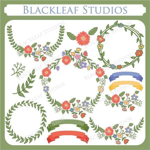 Laurels and Wreaths Flower Frames Wedding Clip art  Blackleaf Design    Mygrafico