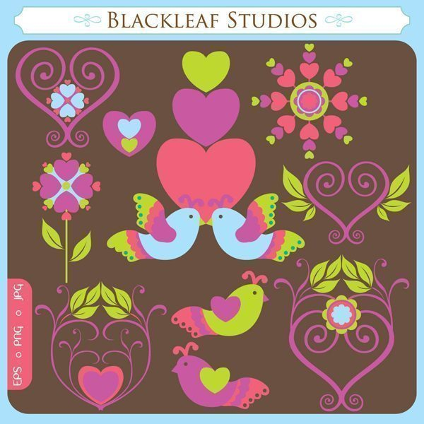 Love Flutters Valentine Clipart  Blackleaf Design    Mygrafico