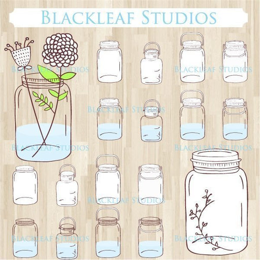 Mason Jars Hand Drawn Vintage Glass Bottles Clip Art  Blackleaf Design    Mygrafico