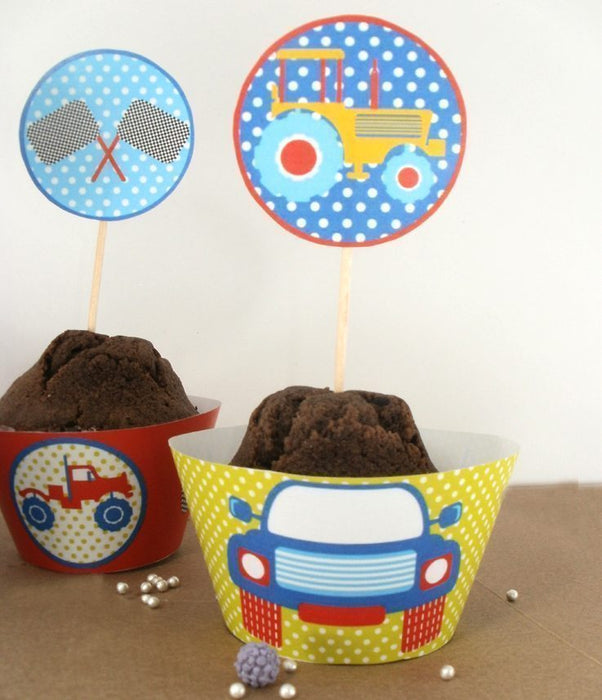 Monster Trucks Cupcake Wrappers and Toppers  Blackleaf Design    Mygrafico