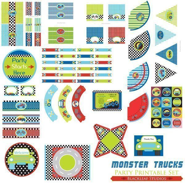 Monster Trucks Party Set  Blackleaf Design    Mygrafico