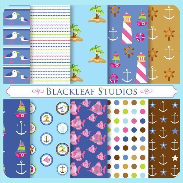 Nautical Fun Patterns Digital Paper & Backgrounds Blackleaf Design    Mygrafico
