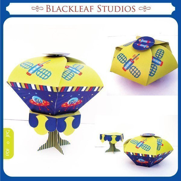 Out of Space Cupcake Box and Stand  Blackleaf Design    Mygrafico