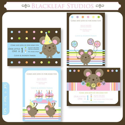 Party Mouse Invites  Blackleaf Design    Mygrafico
