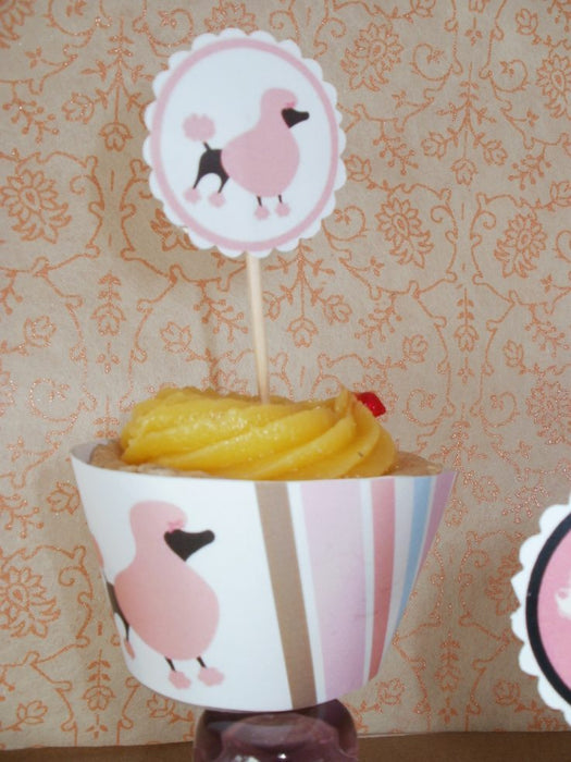 Poodle In Paris Cupcake Wrappers and Toppers  Blackleaf Design    Mygrafico