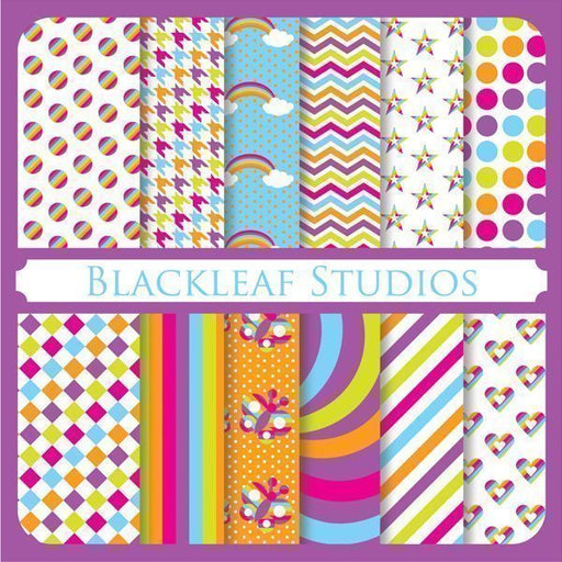Rainbow Papers Digital Papers & Backgrounds Blackleaf Design    Mygrafico