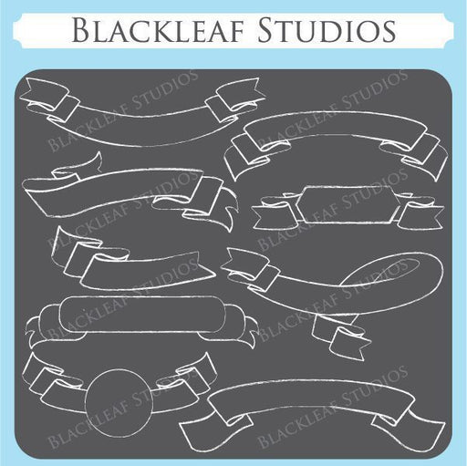 Chalkboard Ribbon Flourish  Blackleaf Design    Mygrafico