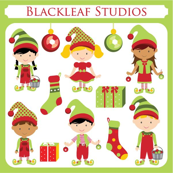 Santas Little Elves Clipart  Blackleaf Design    Mygrafico