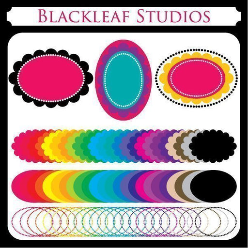 Oval Scallop Frames  Blackleaf Design    Mygrafico