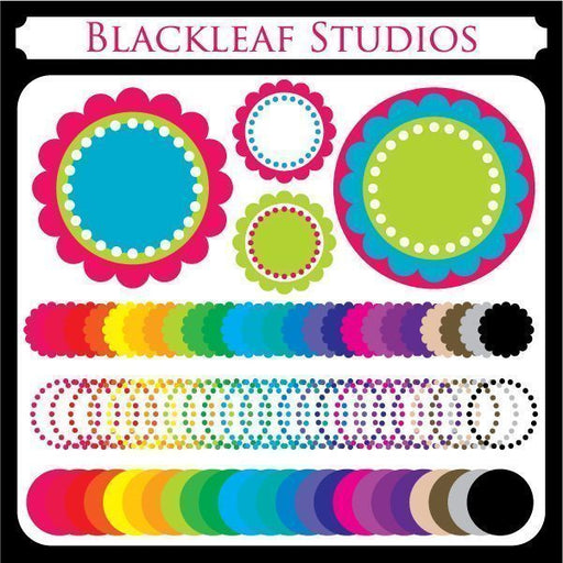 Scalloped Circle Frames  Blackleaf Design    Mygrafico