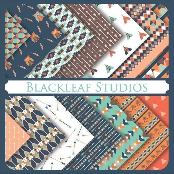 Tribal Papers Digital Papers & Backgrounds Blackleaf Design    Mygrafico