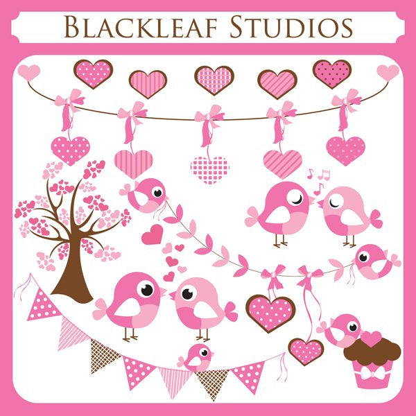 Valentine Birds and Banners Clipart  Blackleaf Design    Mygrafico