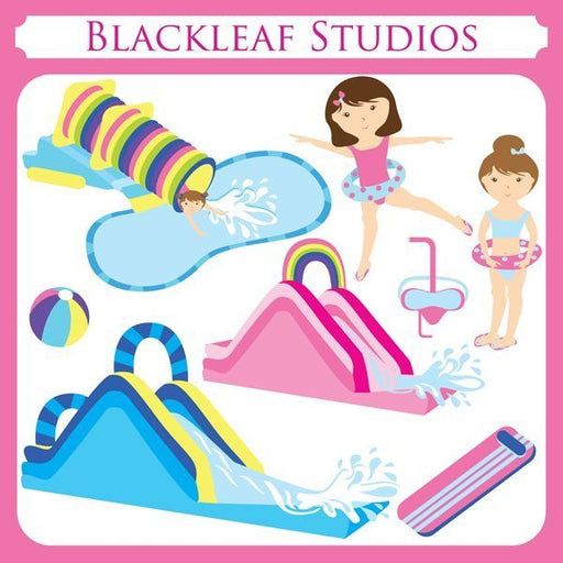 Water Slides Pool Cliparts  Blackleaf Design    Mygrafico