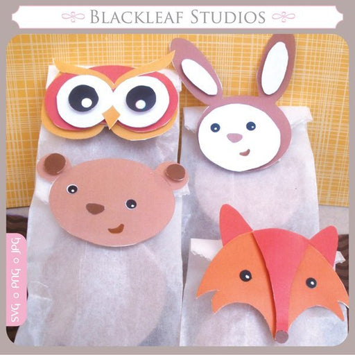 Woodland Forest Animals Favour Bag Toppers  Blackleaf Design    Mygrafico