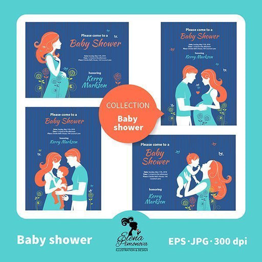 Baby shower invitations with family silhouettes  Elena Pimonova    Mygrafico