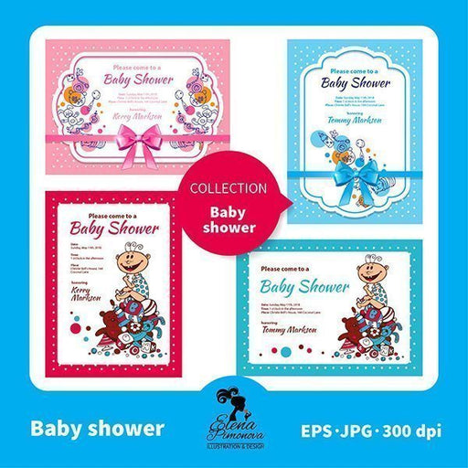 Baby shower  invitations  Elena Pimonova    Mygrafico