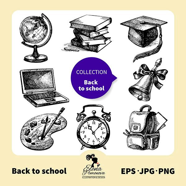 Back to school hand drawn stamps  Elena Pimonova    Mygrafico