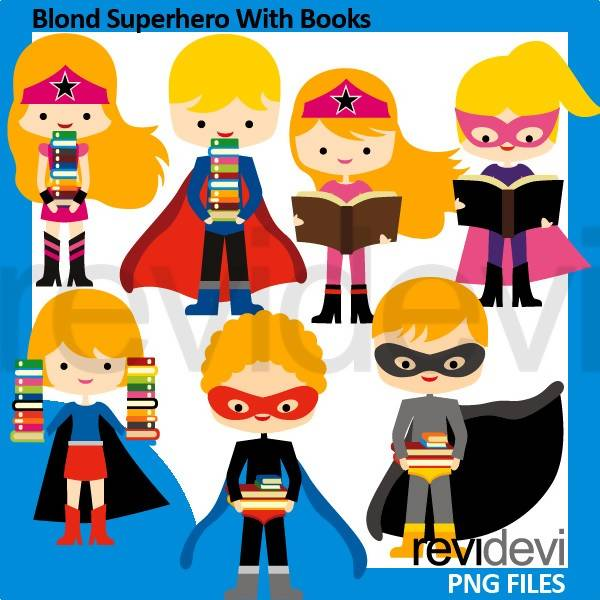 Blonde Superhero holding books clipart Cliparts Revidevi    Mygrafico