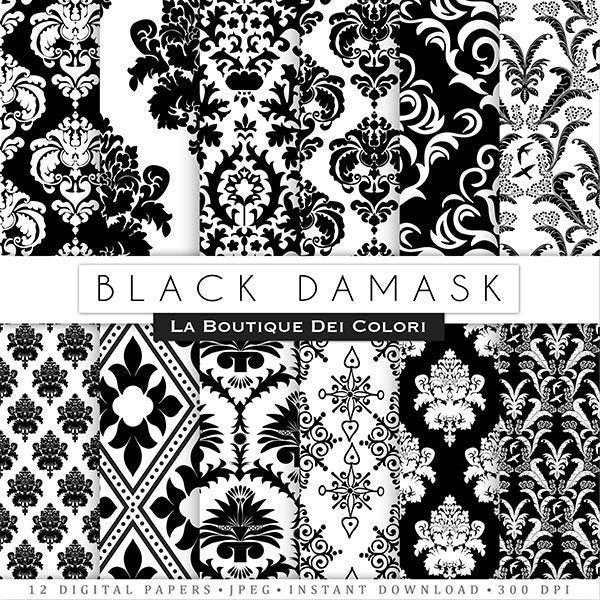 Black Damask Digital Papers  La Boutique Dei Colori    Mygrafico