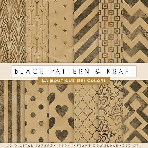 Black Ink and Kraft Digital Papers  La Boutique Dei Colori    Mygrafico