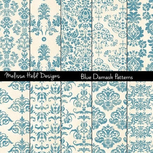Blue Damask Patterns Digital Paper & Backgrounds Melissa Held Designs    Mygrafico