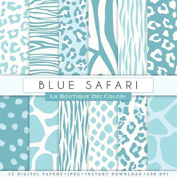 Blue Animal Prints Digital Papers  La Boutique Dei Colori    Mygrafico