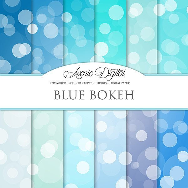 Blue bokeh Digital Paper  Avenie Digital    Mygrafico