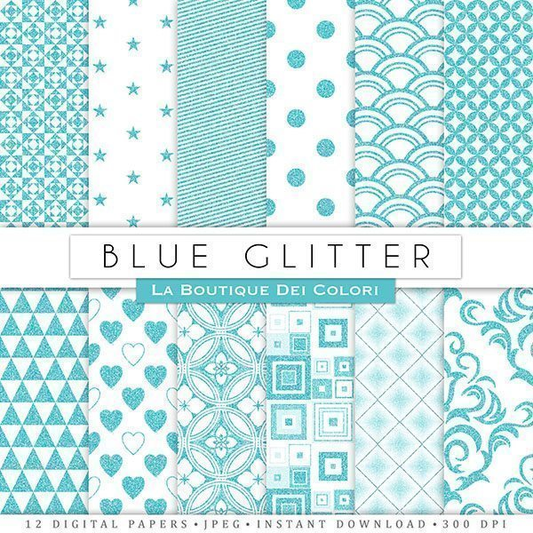 Blue Glitter Digital Papers  La Boutique Dei Colori    Mygrafico