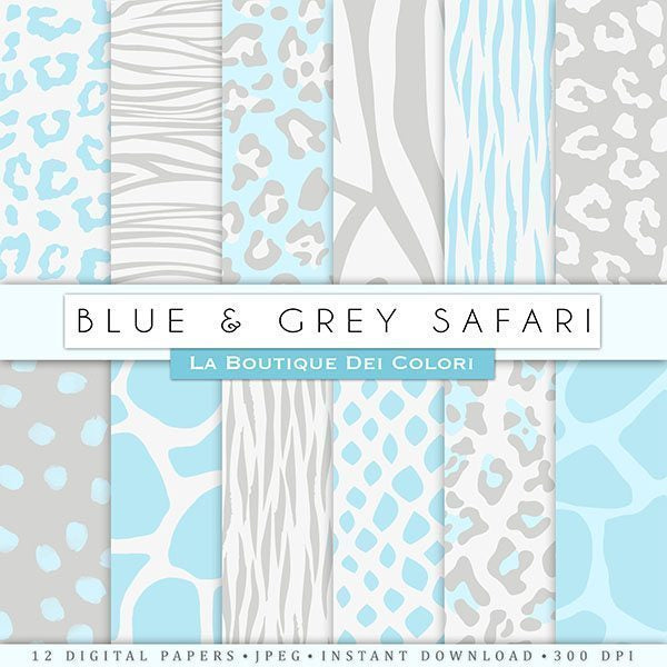 Blue and Grey Animal Prints Digital Papers  La Boutique Dei Colori    Mygrafico