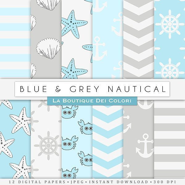 Blue and Gray Nautical Digital Papers  La Boutique Dei Colori    Mygrafico