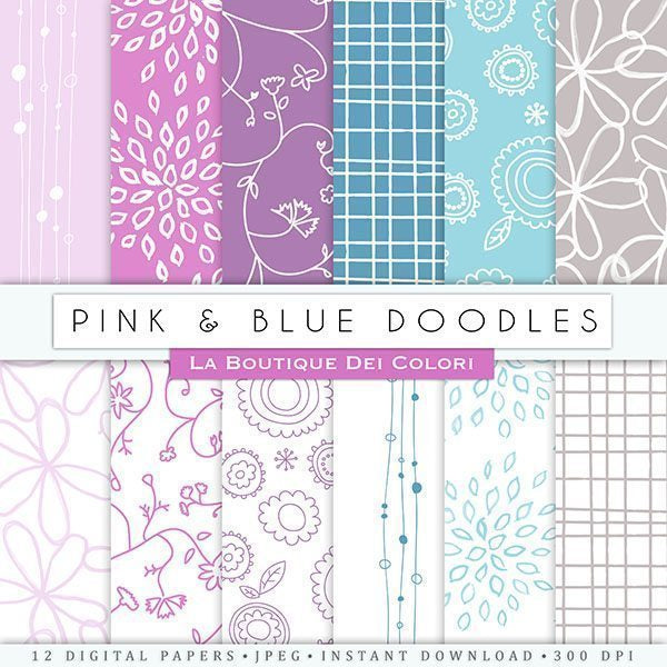 Pink & Blue Doodles Digital Papers  La Boutique Dei Colori    Mygrafico