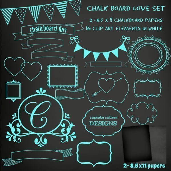 Chalkboard Frames and Paper Set Clipart Cupcake Cutiees    Mygrafico