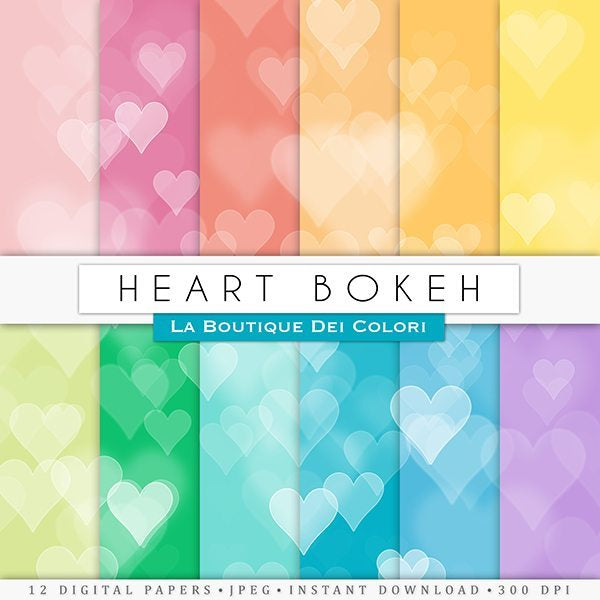 Colorful heart Bokeh digital papers  La Boutique Dei Colori    Mygrafico