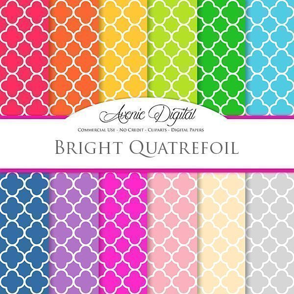 Bright Quatrefoil Digital Paper  Avenie Digital    Mygrafico
