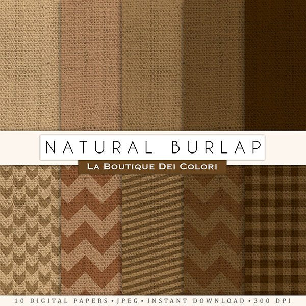 Natural Burlap Digital Paper  La Boutique Dei Colori    Mygrafico
