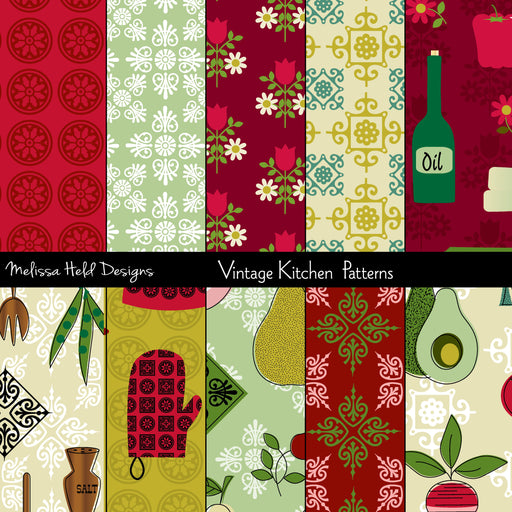 Vintage Kitchen Patterns Digital Paper & Backgrounds Melissa Held Designs    Mygrafico