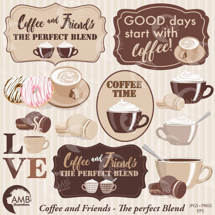 Coffee clipart, Coffee time clipart, Coffee frame clipart, Coffee cups, AMB-1566 Cliparts AMBillustrations    Mygrafico