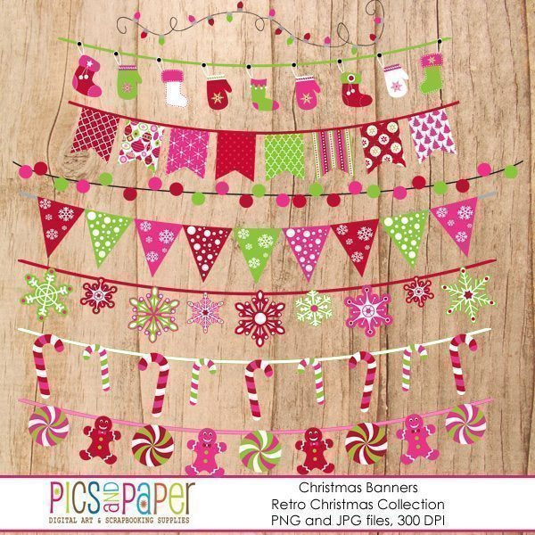 Retro Christmas Banners  Pics and Paper    Mygrafico