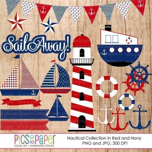 Nautical Clipart in Red and Blue  Pics and Paper    Mygrafico