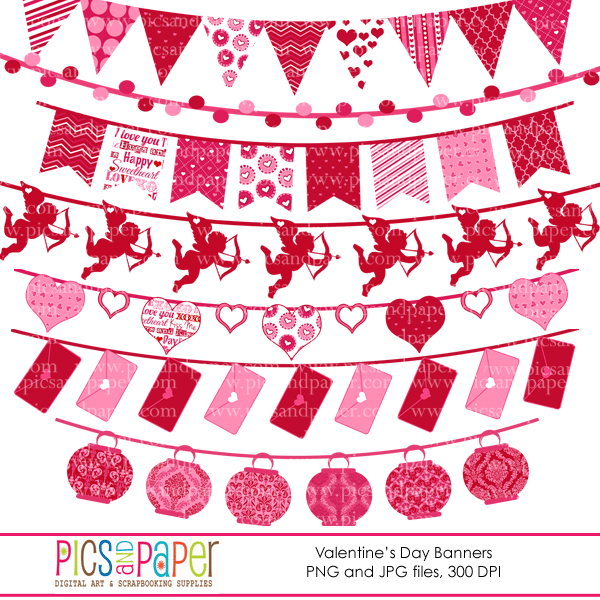 Sweet Love Bunting Banners Clipart  Pics and Paper    Mygrafico