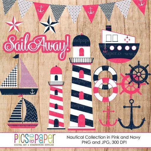 Pink Nautical Clipart Set clipart Pics and Paper    Mygrafico