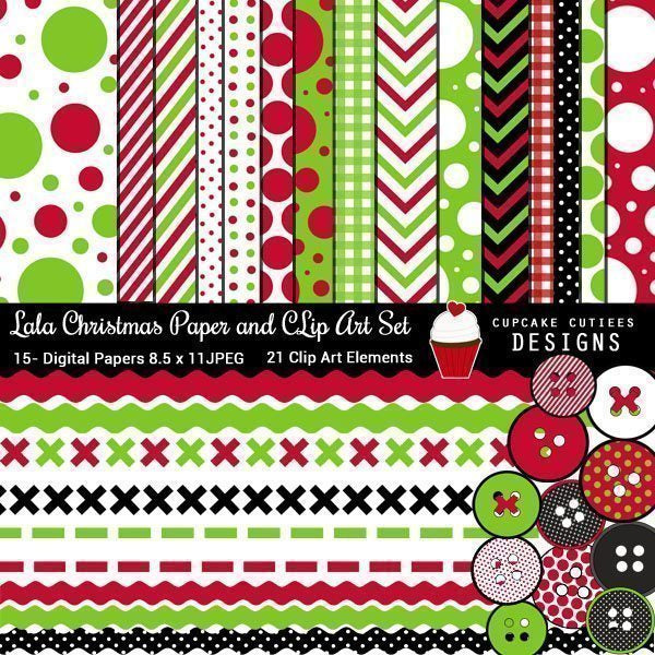 LaLa Christmas Digital paper and Clip art  Cupcake Cutiees    Mygrafico