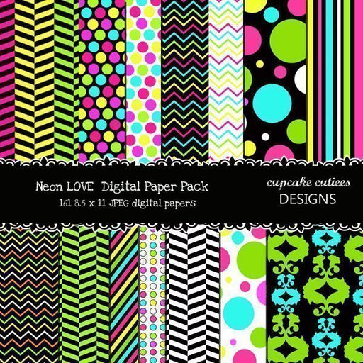 Neon Love Papers  Cupcake Cutiees    Mygrafico