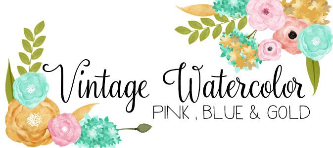 Watercolor Flowers- Vintage Blue Coral and Gold Digital Clip Art Set  Cupcake Cutiees    Mygrafico