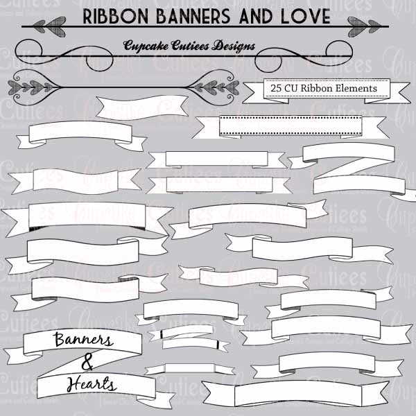 Ribbon Banners and Love  Cupcake Cutiees    Mygrafico