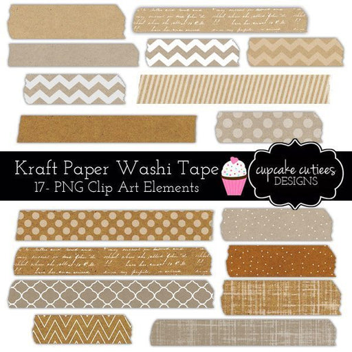 Kraft Paper Washi Tape Digital Clip Art Elements  Cupcake Cutiees    Mygrafico