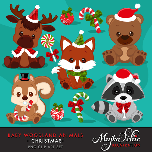Christmas Baby Woodland Animals clipart. Baby fox, Baby squirrel, Baby moose, baby raccoon, baby bear graphics with Christmas Graphics!