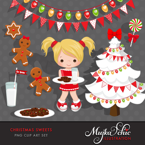 Christmas Sweets Clipart Instant Download Christmas Graphics  Mujka Chic    Mygrafico