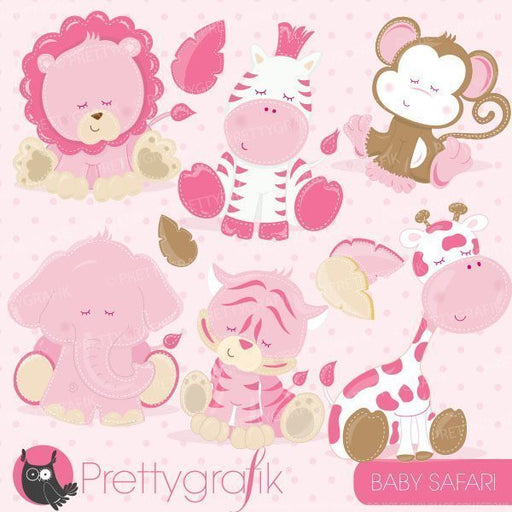 Baby pink animals clipart